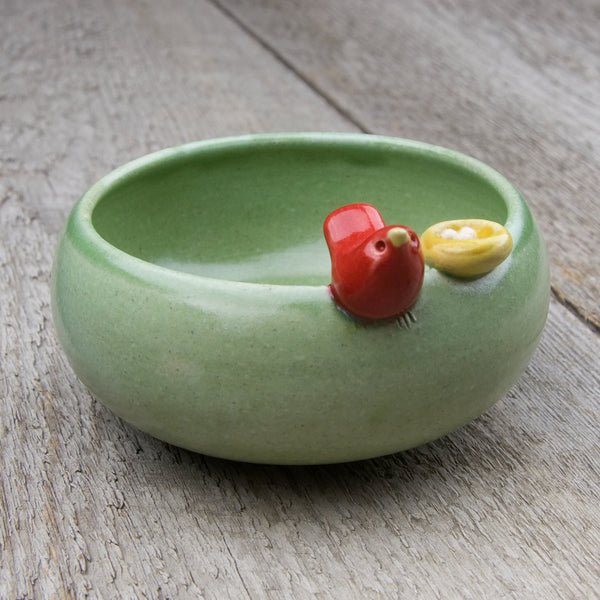 Tasha McKelvey: Small Ceramic Bird Bowl with Nest: Green/Red