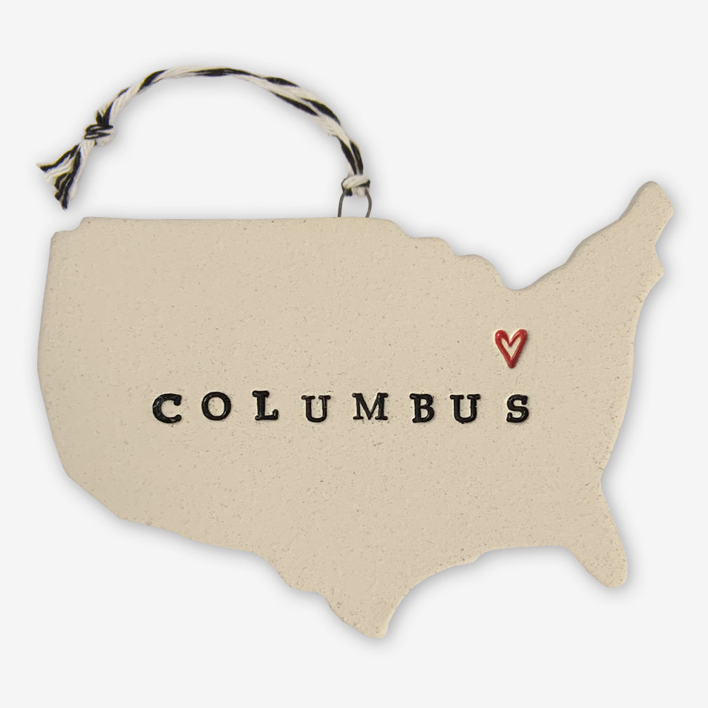 Tasha McKelvey: Ceramic USA Columbus Ornament