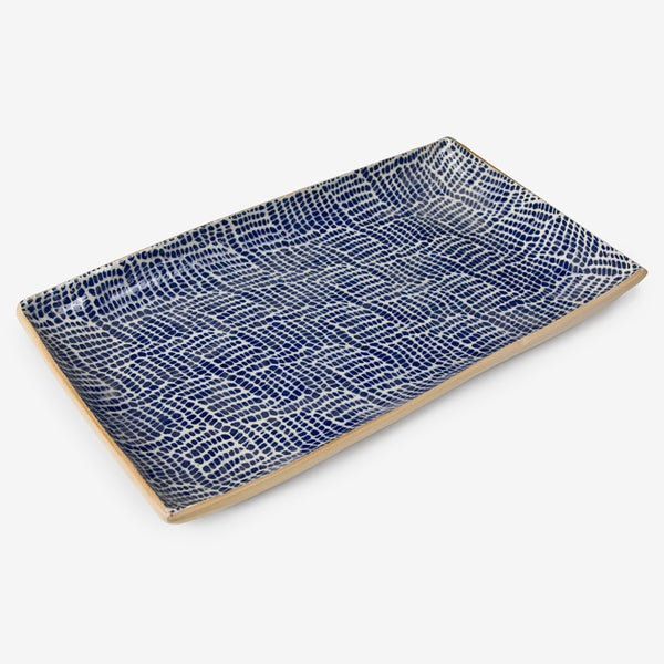 Terrafirma Ceramics: Medium Rectangular Stacking Tray: Braid Cobalt