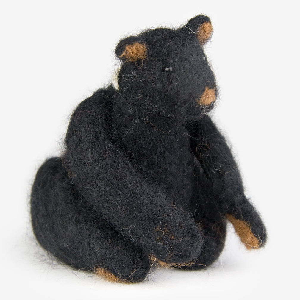 The Au Gres Sheep Factory: Needlefelt Ornaments: Black Bear Seated