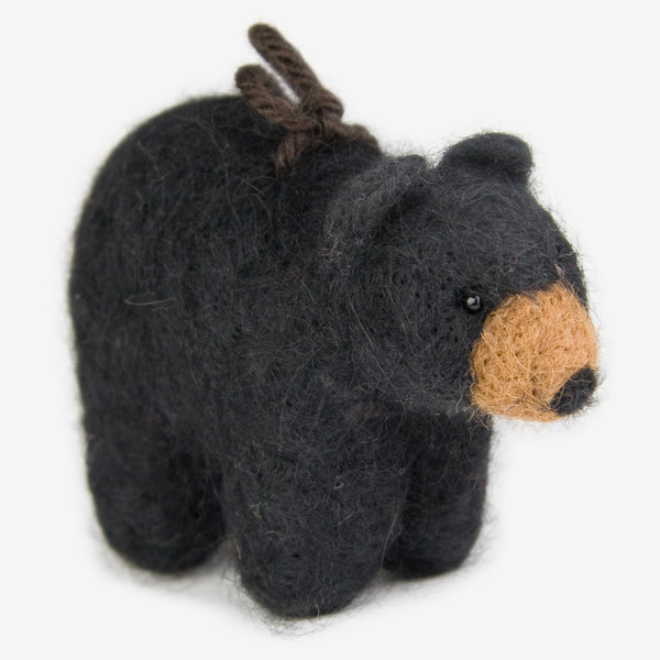 The Au Gres Sheep Factory: Needlefelt Ornaments: Black Bear Standing