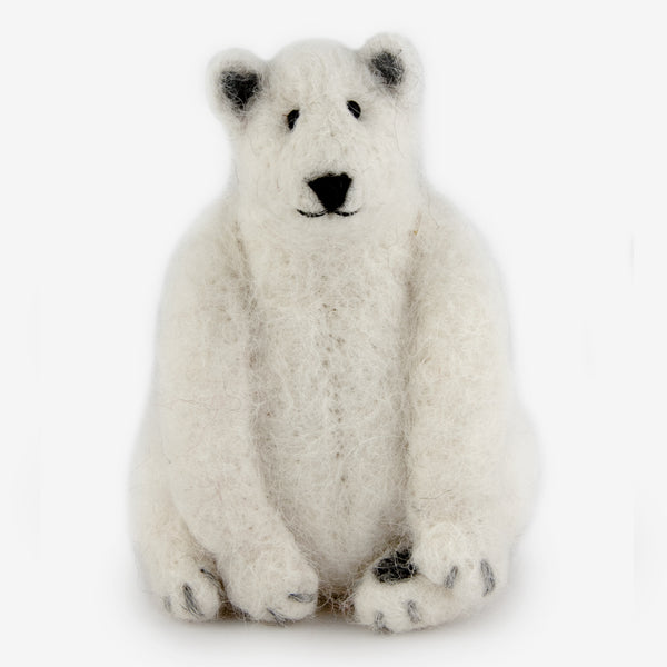 The Au Gres Sheep Factory: Needlefelt Ornaments: Seated Polar Bear