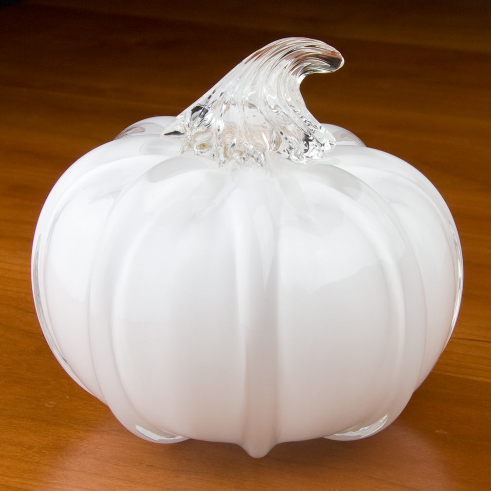 Tucker Glass and Design: Large Pumpkin: White