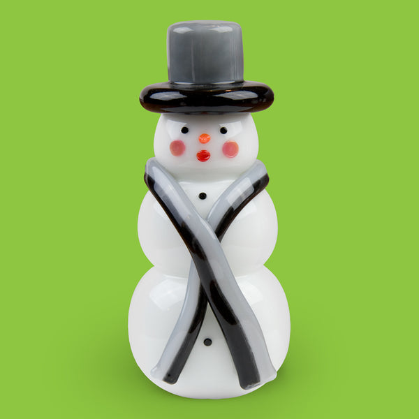Vitrix Hot Glass Studio: Snowmen: Black and Gray Top Hat with Scarf