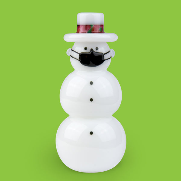 Vitrix Hot Glass Studio: Snowmen: White Top Hat with a Mask