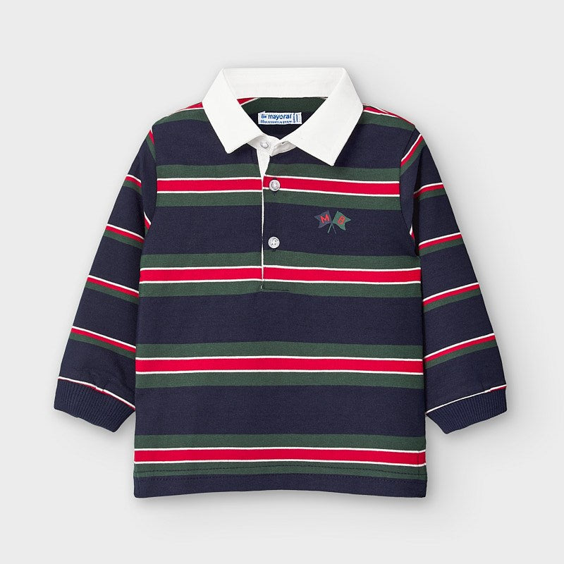Mayoral Baby Boy Orange Navy/Green Polo