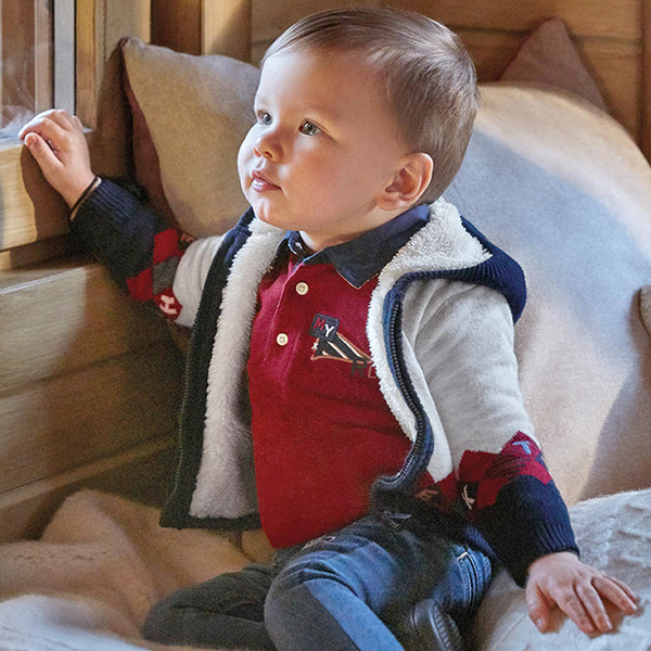 Mayoral Baby Boy Rhombus  lined knit jacket