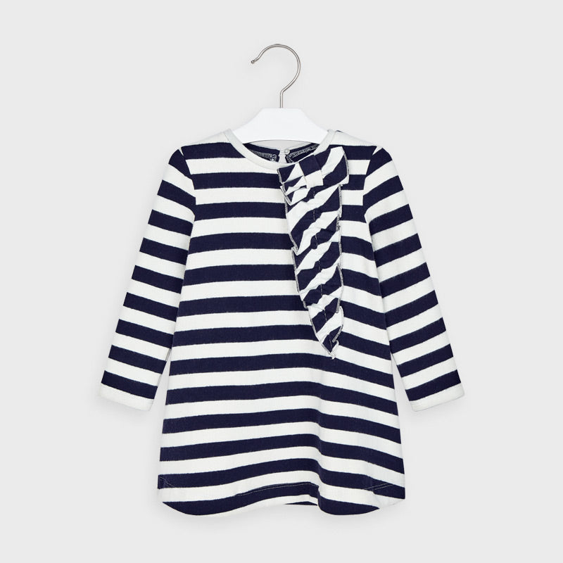 Mayoral  Striped dress with decorative ruffle