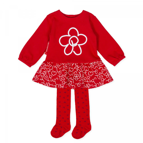 Agatha Ruiz Baby Girl Red Flower Dress & Tights
