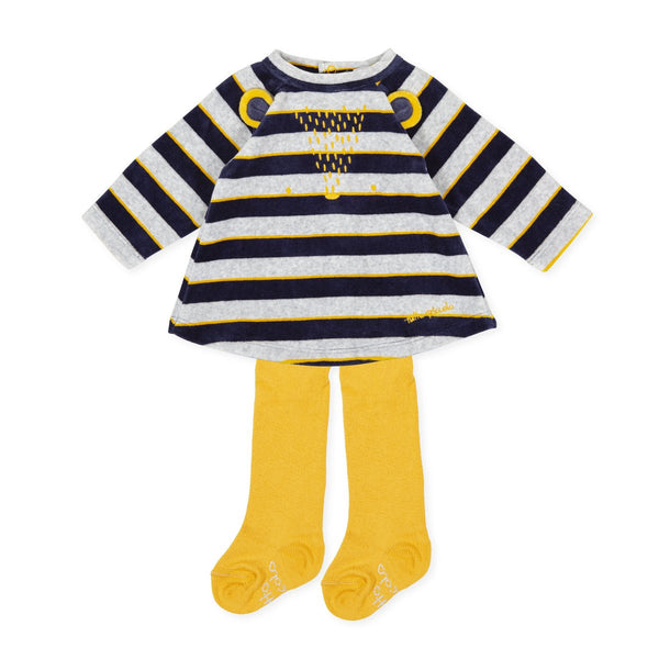 Tutto Piccolo Baby Girl Navy & Yellow Dress & Tights