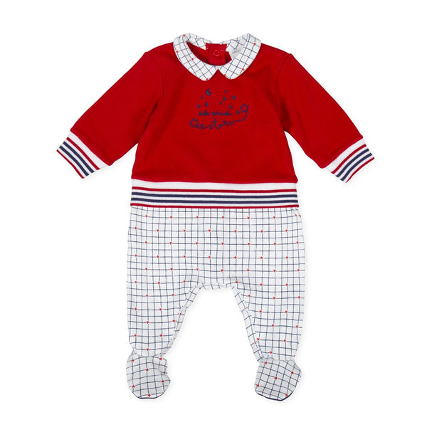 TUTTO Piccolo Baby Boy Red Check Babysuit