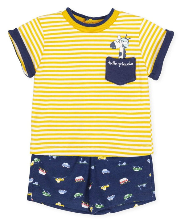 Tutto Piccolo Yellow & Navy Tee And Shorts Set