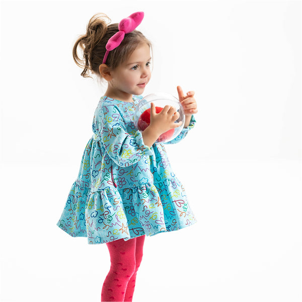 Agatha Ruiz Girl Dress Duck Egg Blue & Tights