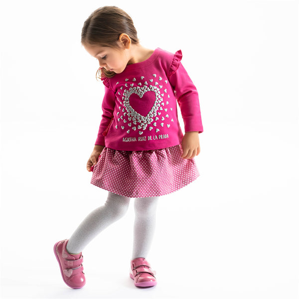 Agatha Ruiz Girl Red Pink Top, Skirt & Tights