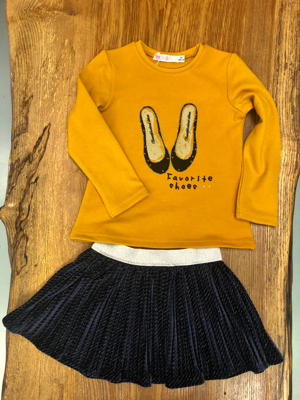 Minibol Mustard Top & Skirt Set