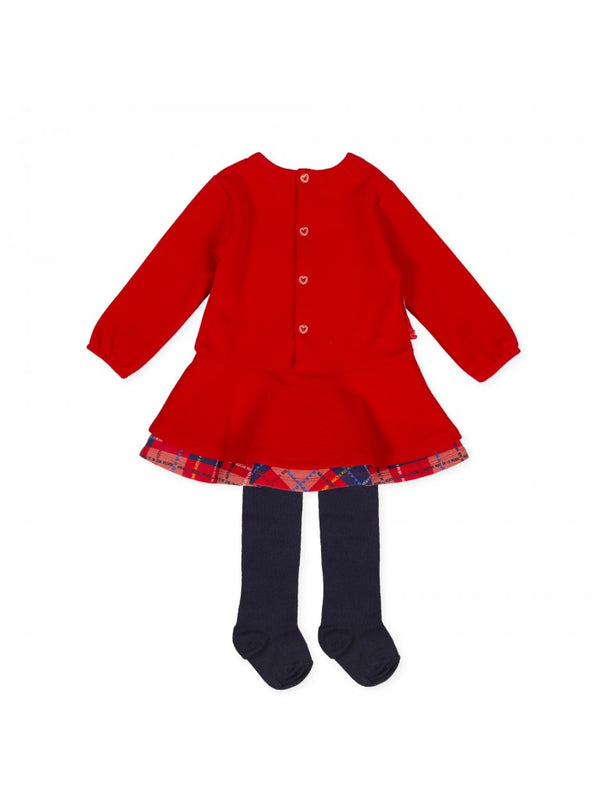 Agatha Ruiz Girl Red 'Check' Bow Dress & Tights