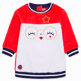 TucTuc Red & Cream Soft Pile Girl Sweater Dress