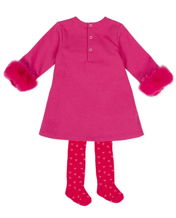 Agatha Ruiz Girl Pink Fur Heart Dress & Tights
