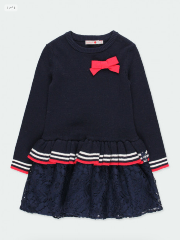 Boboli Navy Knit Lace' Dress