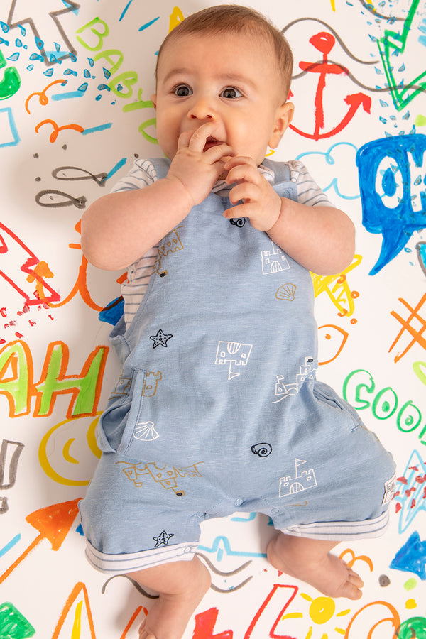 Babybol Baby Boy Sandcastles Two Piece Dungarees