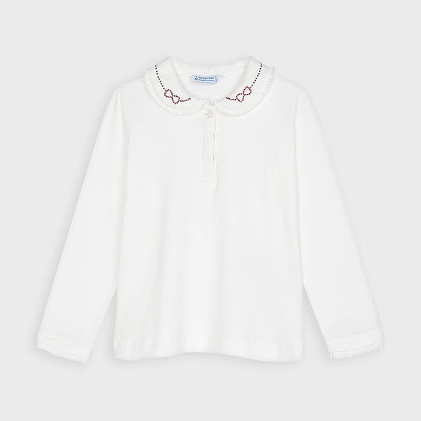 Mayoral Girl Cream Polo Shirt
