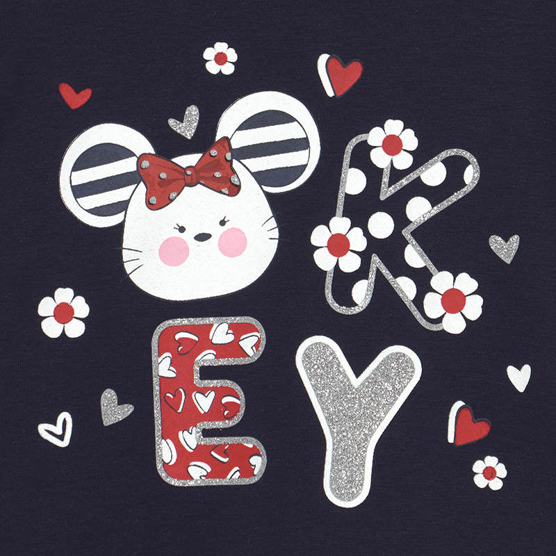 Mayoral Baby Girls Navy Mouse Tee