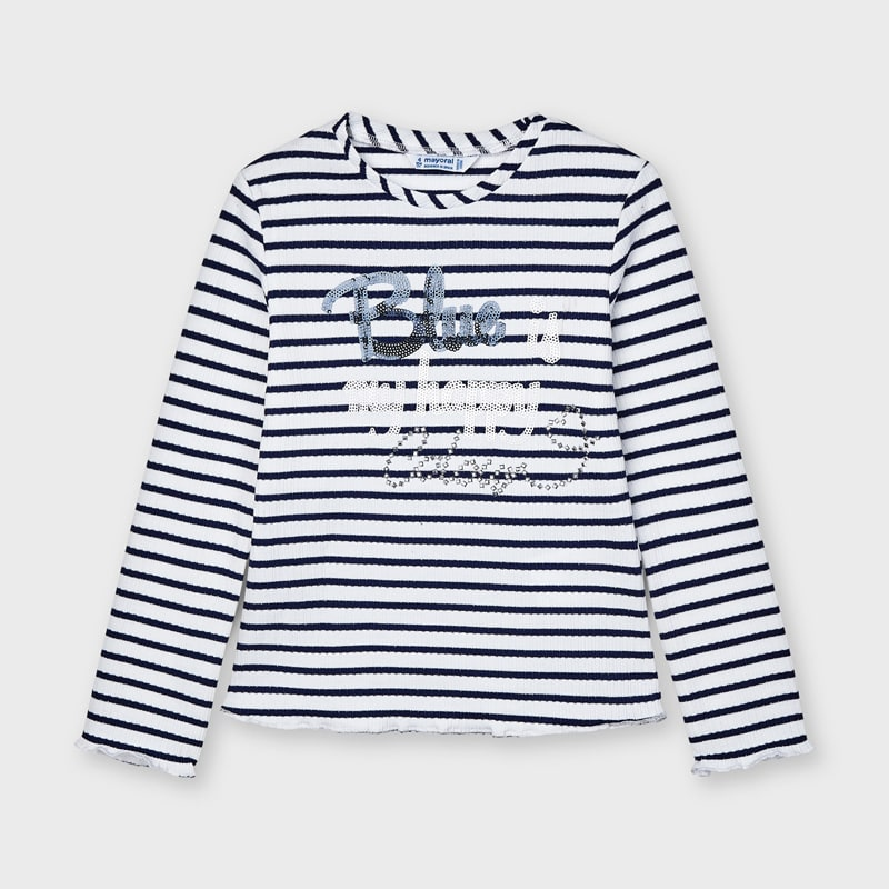 Mayoral Girl Long Sleeve Navy Stripe Tee