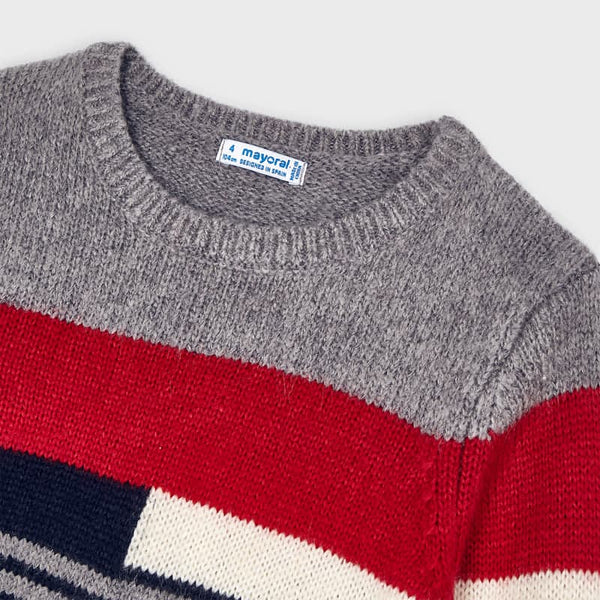 Mayoral Boy Red & Navy Sweater