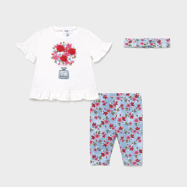 Mayoral Baby Girls Blue Flowers 2 Piece Legging Set