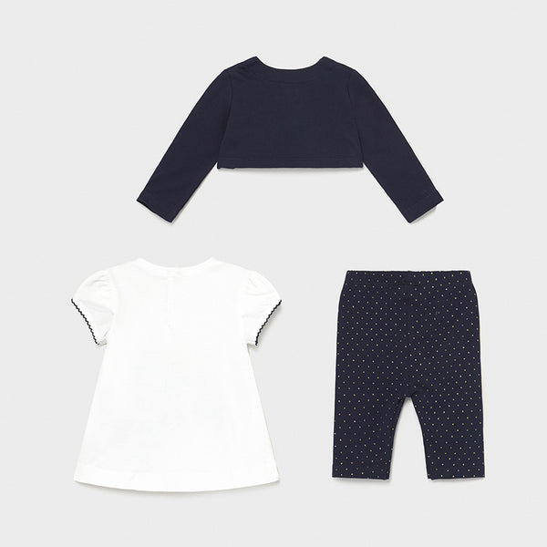 Mayoral Baby Girls Navy 3 Piece Legging Set