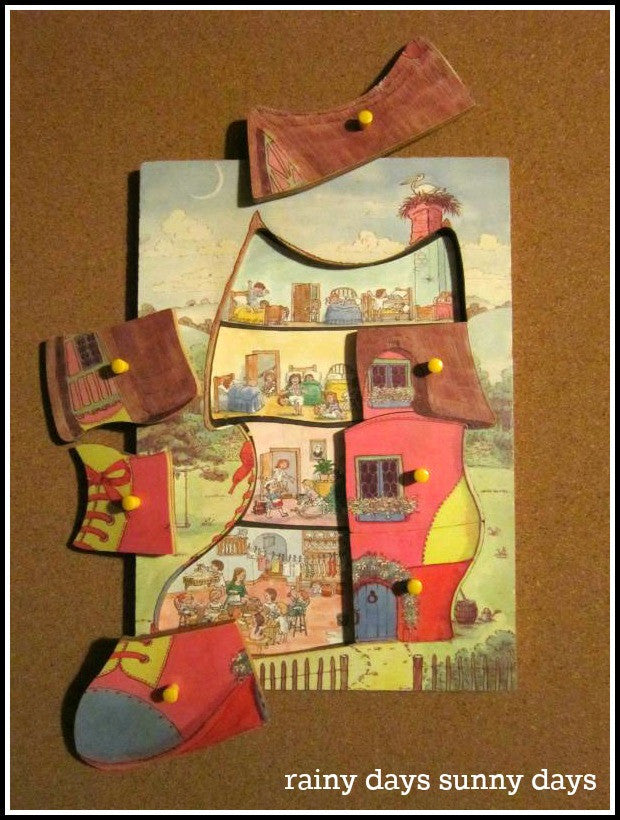 'There Was an Old Woman Who Lived in a Shoe' Wooden Puzzle