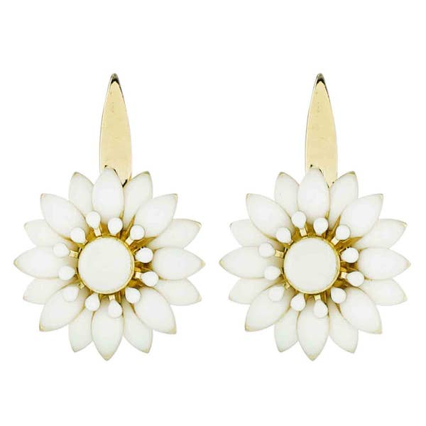 Gold Metal Marquise Flower Earring