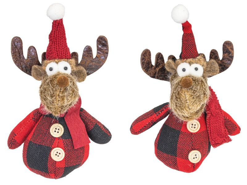 Ruby Plaid Moose Ornament