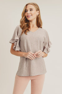 Grey/Pink Ruffle Sleeve Striped Top
