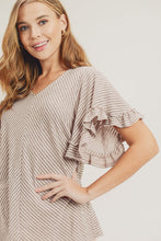 Load image into Gallery viewer, Grey/Pink Ruffle Sleeve Striped Top
