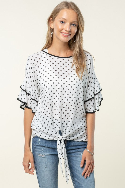 RUFFLED SLEEVE TOP WITH FRONT TIE DETAIL