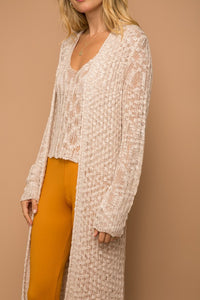 Soft Knit Sweater Cardigan - Taupe