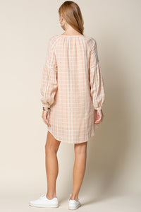 Bishop Sleeve Shirt Dress with Patch Pocket