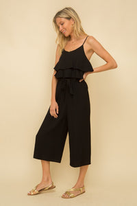 Tiered Ruffle Tie Front Jumpsuit
