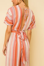 Load image into Gallery viewer, V-NECK PLUNGING BACK STRIPE JUMPSUIT