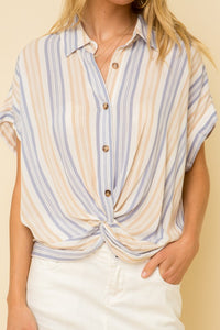 Knotted Front Button Down Short Sleeve Shirt
