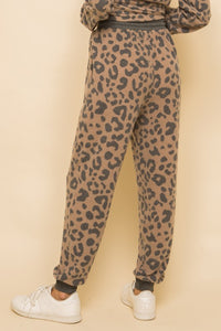 Rib Contrast Brushed Hacci Leopard Print Joggers