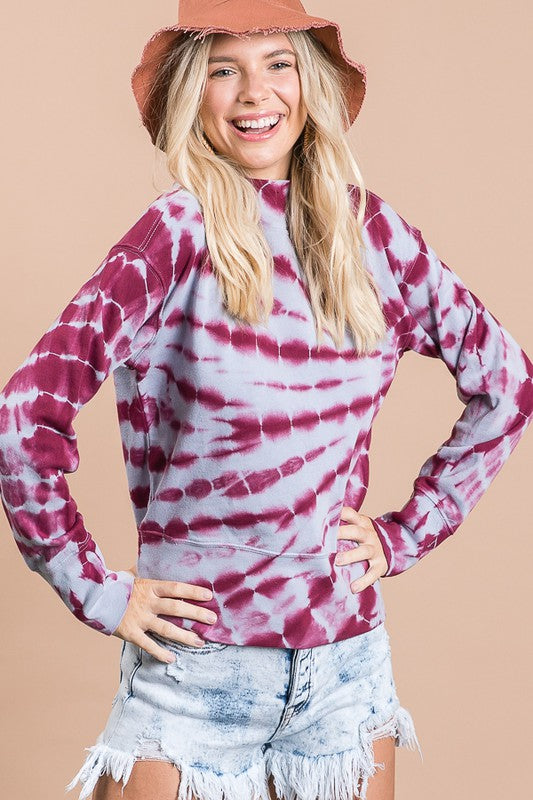 Tie Dyed Mock Neck Long Sleeve Shirt