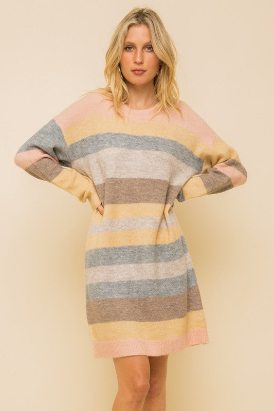 Melange Pastel Multistripe Sweater Dress