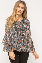 Load image into Gallery viewer, Tassel Tie Bell Printed Blouse