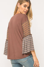 Load image into Gallery viewer, Round Neck Bell Sleeve Modal Top