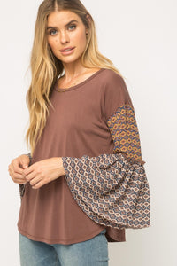 Round Neck Bell Sleeve Modal Top