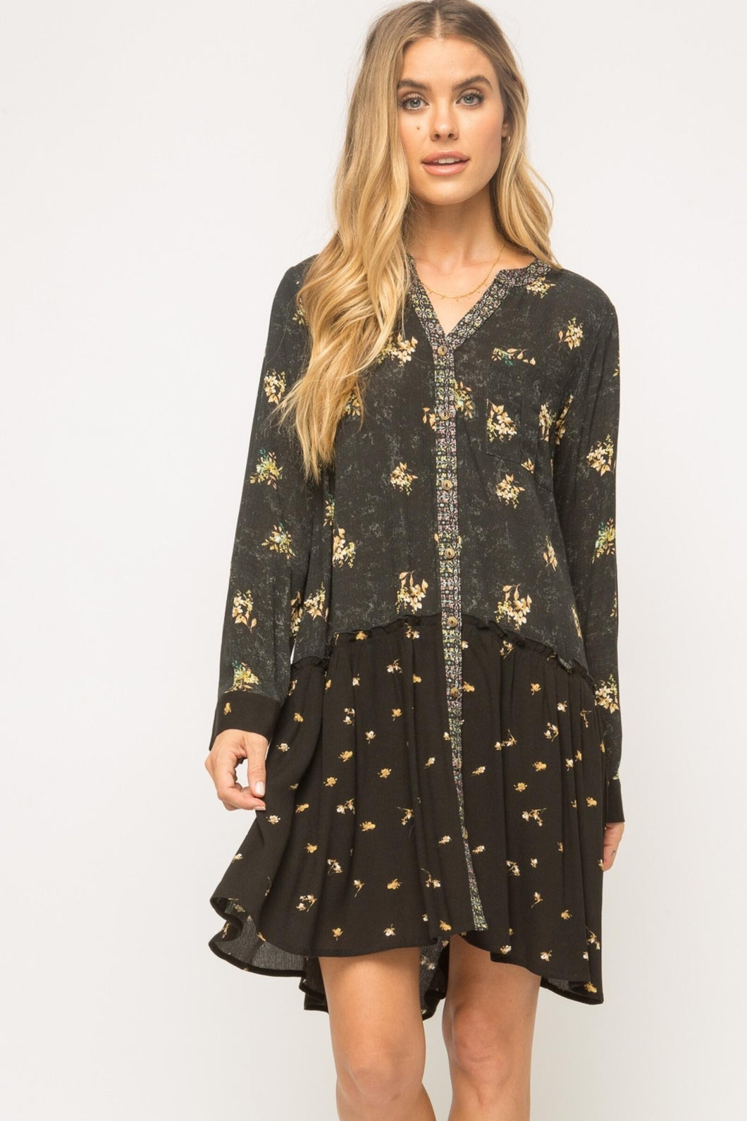 Flowy Layered Mix Printed Dress