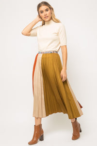 Pleated Color Block Skirt