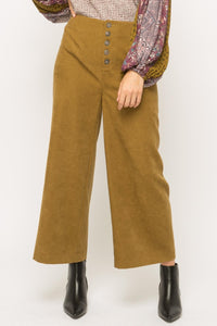 Suede Wide Leg Pants w/Buttons